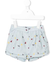 knot embroidered fitted shorts - blue