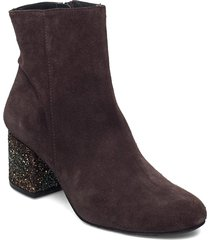 bootie - block heel - with zippe shoes boots ankle boots ankle boot - heel brun angulus