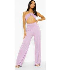 petite jumpsuit met dunne bandjes, uitsnijding en wijde pijpen, lilac