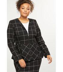 lane bryant women's peplum zip-up jacket - windowpane plaid 28p black & white windowpane plaid