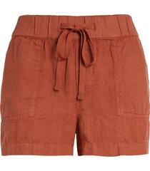 women's caslon linen shorts, size large - brown