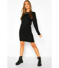 crew neck long sleeve dress, black