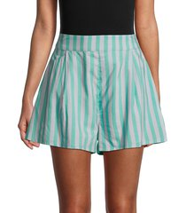weworewhat women's striped cotton-blend shorts - macro stripe - size xl