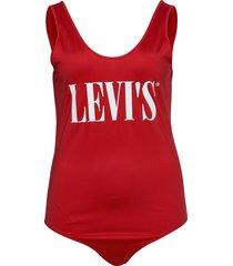 pl logo bodysuit pl logo bodys t-shirts & tops bodies röd levi's plus