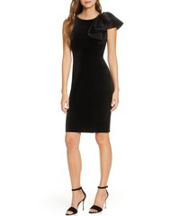 women's eliza j ruffle shoulder velvet sheath dress