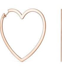 pendientes aro silueta corazón de plata vermeil rosa tous