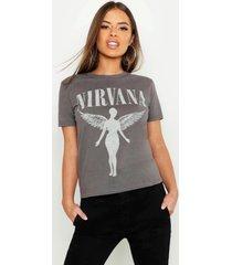 petite gelicenseerd nirvana t-shirt, grijs