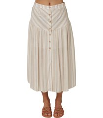 o'neill shane stripe maxi skirt, size small in white at nordstrom