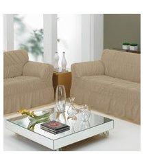 capa de sofá 2 e 3 lugares com 20 elástico - caqui - bene casa