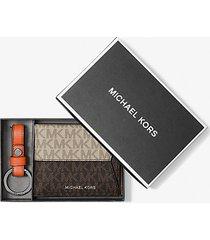 mk portafoglio a libro color block con logo portachiavi e portadocumenti - hmp/brn/org - michael kors