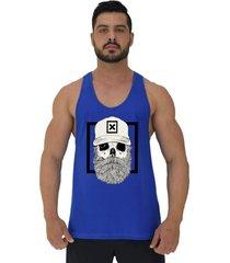 regata cavada masculina alto conceito caveira lenhador hipster bonã© azul royal - azul - masculino - algodã£o - dafiti