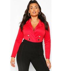 plus blazer button front one piece, red