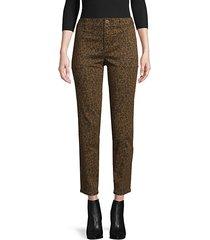 leopard-print cotton-blend pants