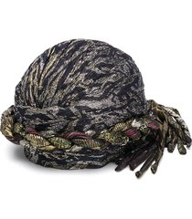 saint laurent metallic woven turban - black