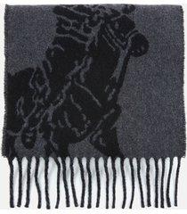 polo ralph lauren men's big pony jacquard scarf - polo black/grey