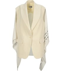 mm6 cape-effect crepe blazer