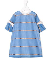 hucklebones london metallic striped bell sleeve dress - blue