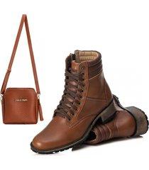 bota cano curto coturno confort couro e bolsa caramelo
