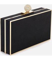 sophia webster women's clara bijou box clutch bag - black satin & gold