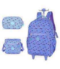 kit mochila infantil com rodinhas up4you com lancheira e estojo 100 pens
