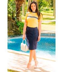 t-shirt bangkok detalhes retilãnea luciana pais 92802 amarelo - amarelo - feminino - algodã£o - dafiti