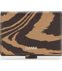 ganni women's printed leather wallet - tannin