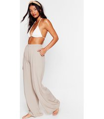 womens crinkle wide leg beach trouser - stone