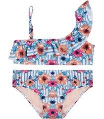 bikini teens uv30 flores un hombro y vuelo h2o wear