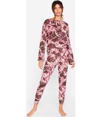 womens hey me again tie dye top and jogger pajama set - mauve