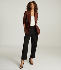 reiss finley - double breasted twill blazer in tobacco, womens, size 14