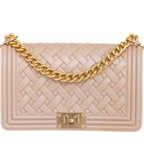 marc ellis flat braid m shoulder bag in rose-pink pvc