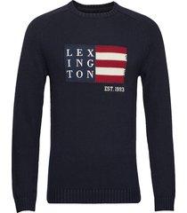 dylan sweater gebreide trui met ronde kraag blauw lexington clothing