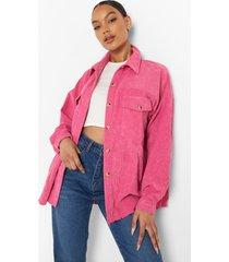 oversized blouse met corduroy zakken, hot pink