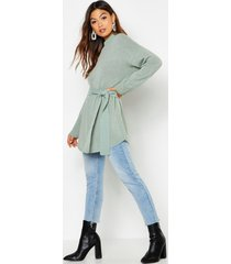 belted high neck sweater, sage