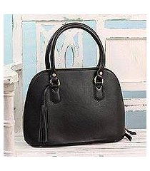 leather handle handbag, 'urban dweller' (india)
