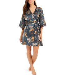 i.n.c. short lace-trim wrap robe, created for macy's