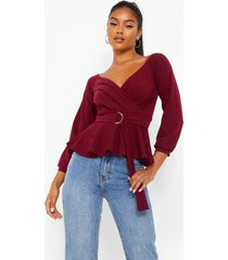 crepe off the shoulder peplum top, berry