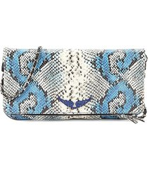 zadig & voltaire women's rock painted embossed snakeskin-print leather crossbody bag - passion