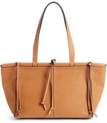 loewe cushion leather convertible gusset tote - brown