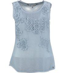garcia langere blauwe polyester top