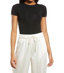 women's re ona crewneck t-shirt thong bodysuit, size x-large - black