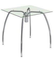 mesa 1502 vidro incolor cromado móveis carraro preto