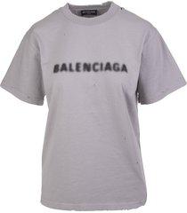 balenciaga man grey narrow line blurry t-shirt