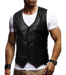 button up buckle back business vinyl vest