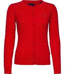 stretch cotton cable crew cardigan gebreide trui cardigan rood gant