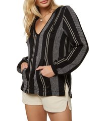 women's o'neill campfire hooded sweater, size small - black