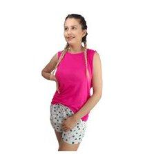 pijama feminino rosa e cinza com detalhes de bolhas