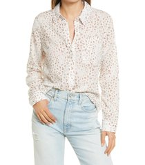women's treasure & bond drapey classic shirt, size small - ivory