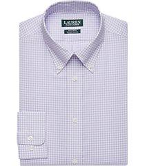lauren by ralph lauren lavender check regular fit dress shirt