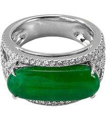 diamond jade 18k white gold cutout ring